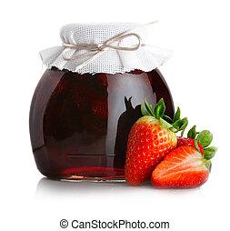 confiture, mûre, isolé, fraise, fraises, blanc