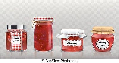 confiture, style, verre, collection, réaliste, vecteur, pots