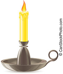 conflagrant candle is in a candlestick vector illustration