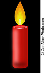 conflagrant candle of red color on a black background