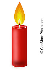 conflagrant candle of red color on a white background