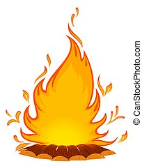 conflagrant fire is isolated on a white background