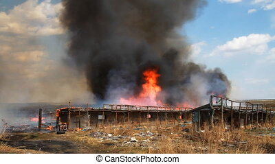 Conflagration - Fire Consumes A Building. Fire Damage.