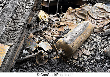 Conflagration - Fire damaged in summer house after blaze