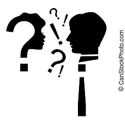 Conflict 2 - Silhouette of man and woman face in the form of...