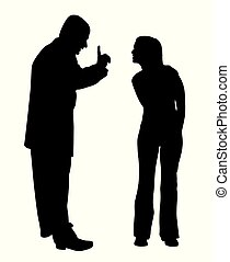 Illustration of conflict between father and defiant teenage daughter. Isolated white background. EPS file available.
