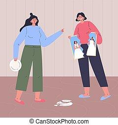 Conflict between gay womans. Couple quarrel