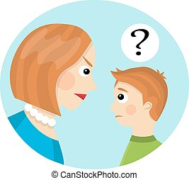 conflict between mother and child - Mom strictly looks at ...