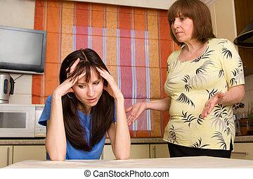 Conflict between mum and daughter. Series - Conflict between...