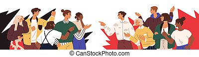 Conflict between opponents. Dispute of two society groups with different opinions. Concept of social fight and disagreement. People's confrontation. Flat vector illustration isolated on white.