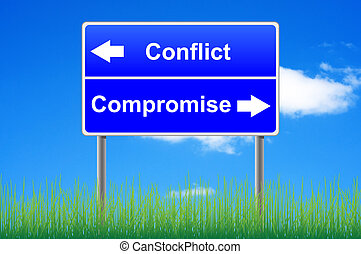 Conflict compromise roadsign on sky background, grass...