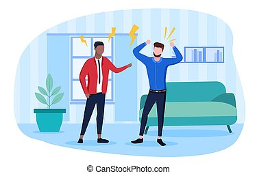 Conflict concept with two men arguing