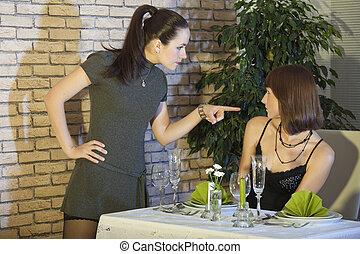 conflict in restaurant - conflict between two female friends...
