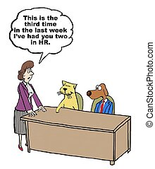 Conflict Management - Business cartoon of business cat and...