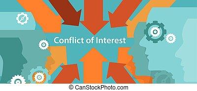 conflict of interest business management problem concept