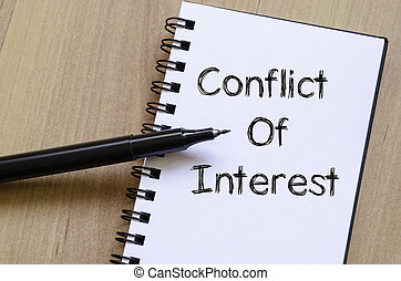 Conflict of interest write on notebook