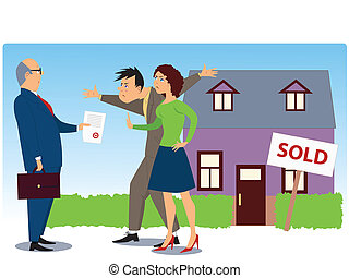 Conflict over real estate selling - Businessman present ...