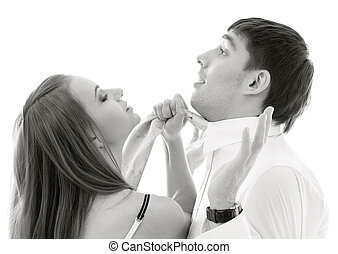 conflict - monochrome picture of conflicting couple over...