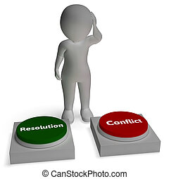 Conflict Resolution Buttons Show War Or Reconciliation - ...
