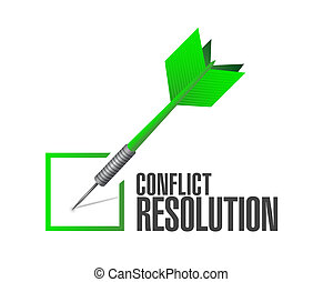 conflict resolution check dart illustration design