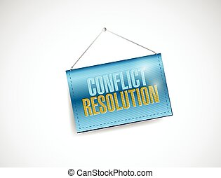 conflict resolution hanging banner illustration design over...