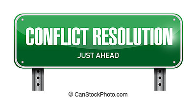 conflict resolution road sign illustration