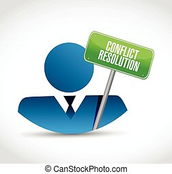 conflict resolution sign and avatar.