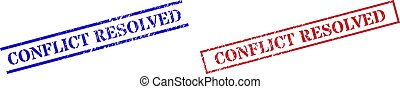 CONFLICT RESOLVED Textured Scratched Seal Stamps with Rectangle Frame