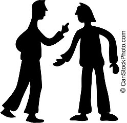 Conflict - silhouette of two men in conflict