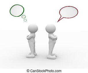 Conflict - 3d people - human character - argue, conflict. 3d...