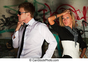 Conflict - Young couple having some problems on the date.