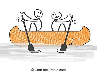 conflict - Two People in Canoe Paddling in Opposite...