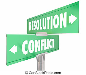 Conflict Vs Resolution 2 Two Way Road Street Signs 3d Illustration