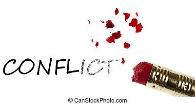 Conflict word erased by pencil eraser