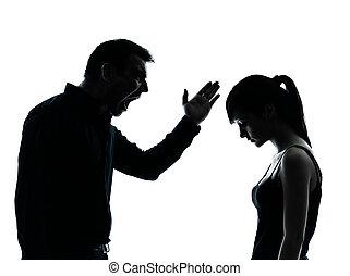 conflicto, padre, disputa, hija
