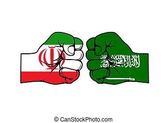 conflit, arabie, iran, milieu, saoudien, est, vs