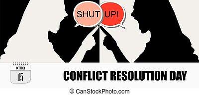 conflit, carte postale, résolution, jour