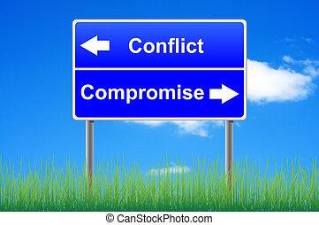 conflit, compromis, roadsign, sur, ciel, fond, herbe,...