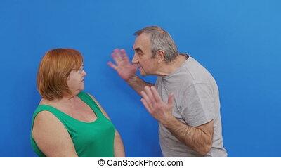 conflit, couple, arrière-plan., bleu, vieilli, disputer, négatif, emotions., quarreling.