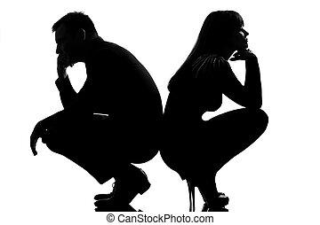 conflit, couple, femme, homme celui