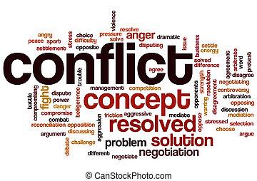 conflit, mot, nuage
