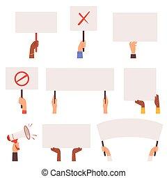 conflit, vecteur, pannels., protesters, banners., tenant mains, activité, foule, vide, manifestation
