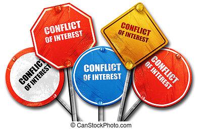conflito, de, interesse, 3d, fazendo, áspero, sinal rua,...