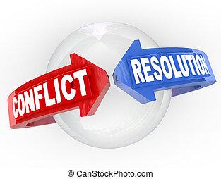 conflito, resolução, resolver, disputa, setas, encontre,...
