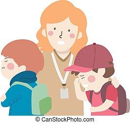 conflitto, bambini, piangere, studente, insegnante, ragazzi