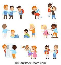 conflitto, bambini scuola, derisione, set, ragazze, compagni classe, illustrazione, bullying, beffeggiamento, cattivo, vettore, weaks, fra, bambini, ragazzi, comportamento