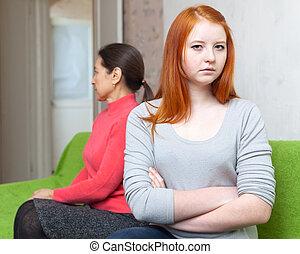 conflitto, figlia, detenere, maturo, madre