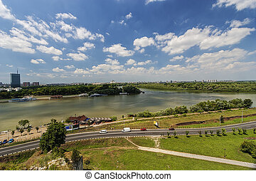 Confluence of two rivers - Belgrade confluence of two...