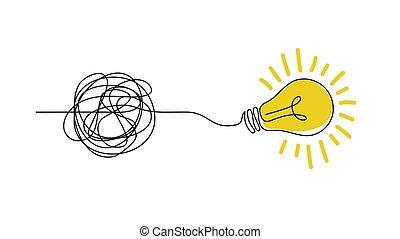 confondere, semplicità, scarabocchiare, mano, disordinato, vettore, disegnato, pensiero, illustrazione, chiarezza, processo, bulb., linee, concetto, luce, idea, concept.