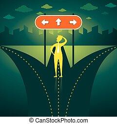 confondre, droite direction, choisir